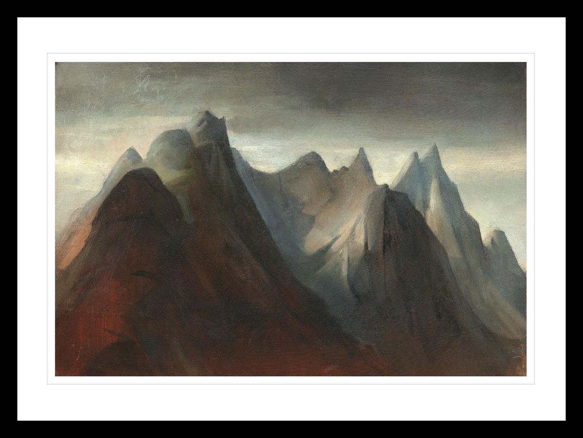 Norsk fjell landskap i Reine, Lofoten. Håndkolorert grafikk av Vebjørn Sand.