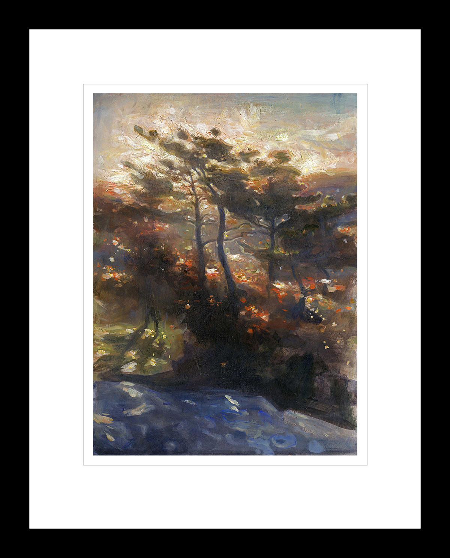 Solstråler skinner gjennom trær i morgengry. Håndkolorert grafikk av Vebjørn Sand.