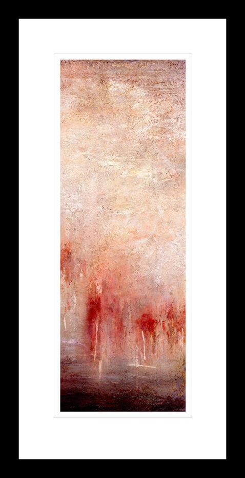 Abstrakt kunst med en glødende rød og hvit antarktis solnedgang. Håndkolorert grafikk av Vebjørn Sand.