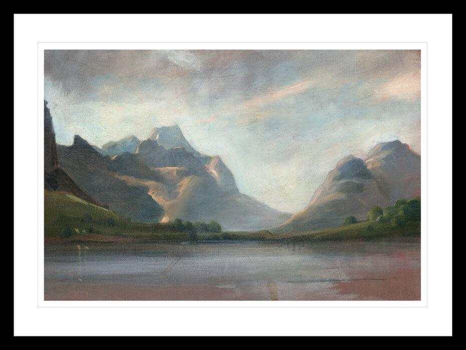 Norsk Sommer landskap med fjell, skyer og trær. Håndkolorert grafikk av Vebjørn Sand.