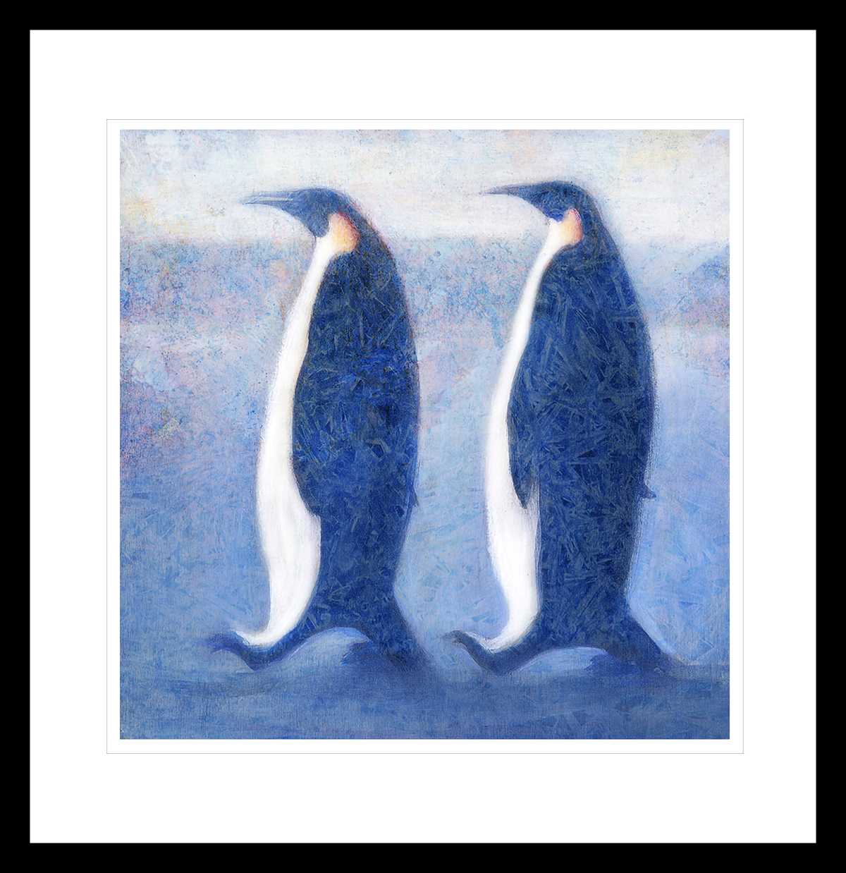 To blå pingviner går sidelengs i Antarktis. Håndkolorert grafikk av Vebjørn Sand.