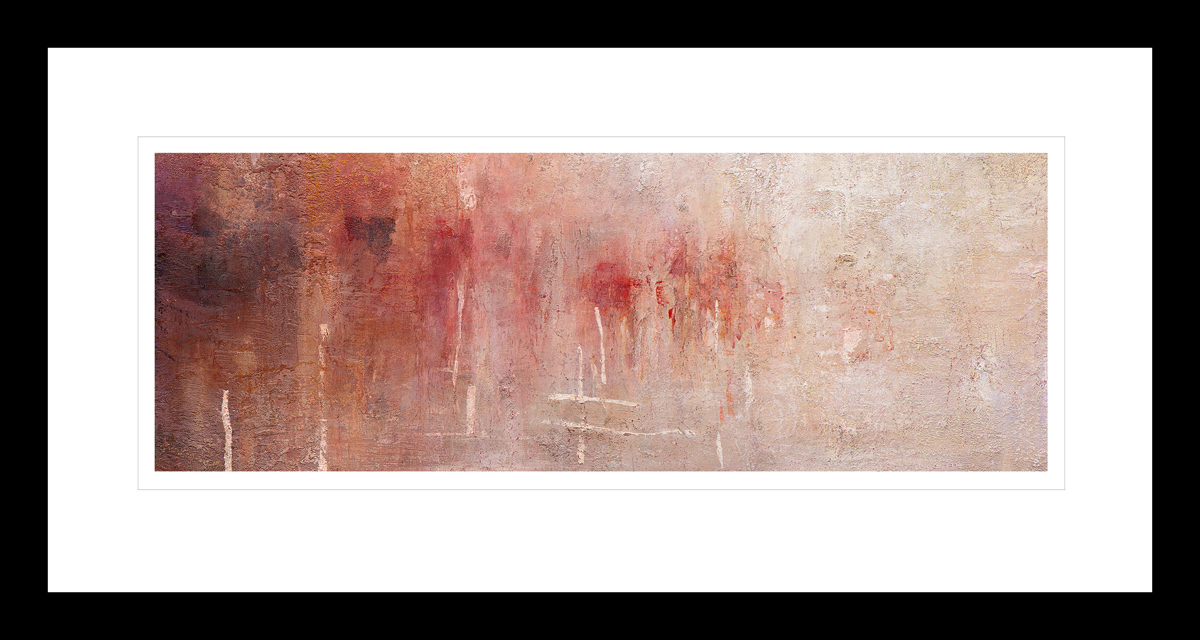 Abstrakt kunst med en glødende rød og hvitt Antarktis solnedgang. Håndkolorert grafikk av Vebjørn Sand.