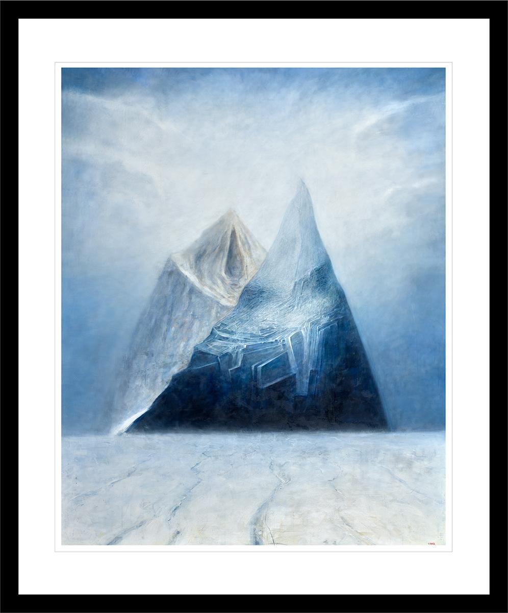 To fjell skyter ut av isbreen i Antarktis. Håndkolorert grafikk av Vebjørn Sand.