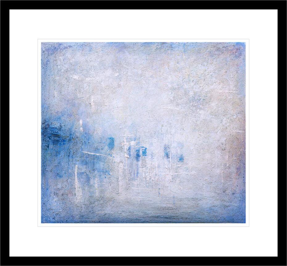 Abstrakt kunst med blått og hvitt Antarktisk lys. Håndkolorert grafikk av Vebjørn Sand.