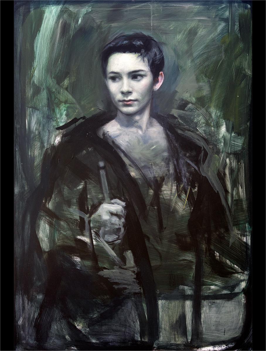 Et portrett av en ukjent soldat. Akryl på plate, maleri av Vebjørn Sand.