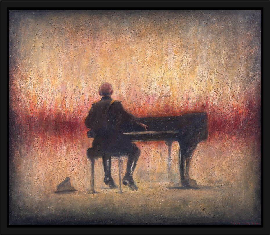 En soldat spiller piano foran et ruvende helvete. Akryl på plate, maleri av Vebjørn Sand.