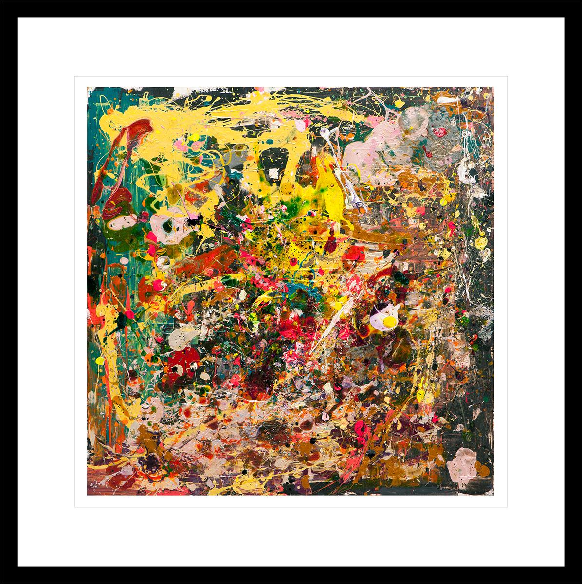 Abstrakt og ekspresjonistisk maleri malt med fargesterke strøk. Håndkolorert grafikk av Marianne Aulie.