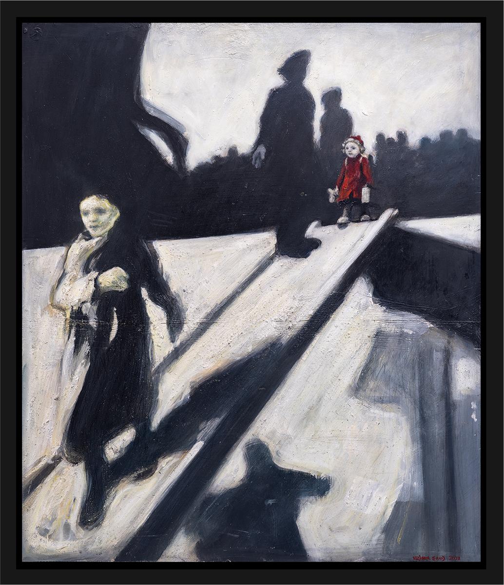 Ellinor ved landgangen på Donau som har ankommet Polen den 30. november 1942. Akryl på plate, maleri av Vebjørn Sand.