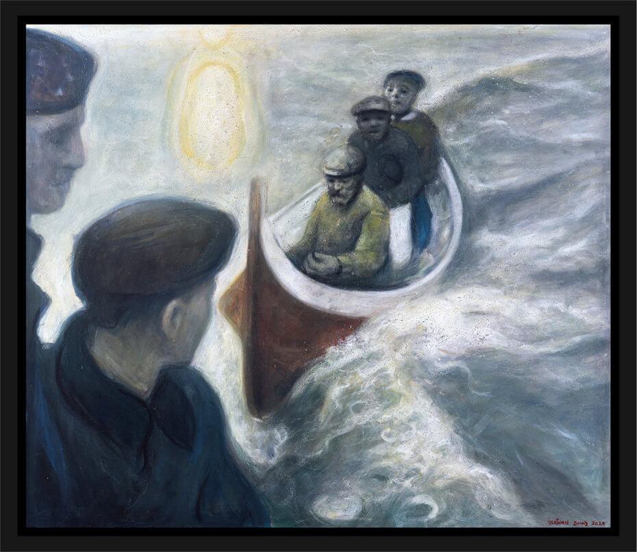 Tre fiskere i en båt nærmer seg to soldater. Akryl på plate, maleri av Vebjørn Sand.