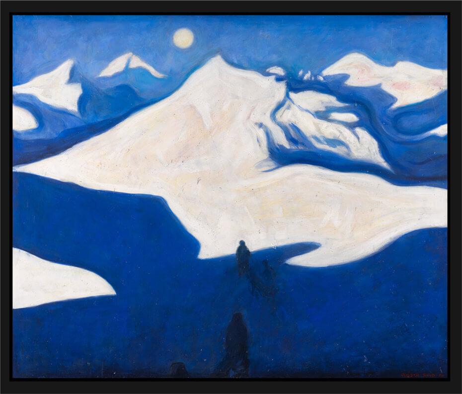 Milorgkarer henter flyslipp i fjellet, malt med sterke blå og hvite farger. Akryl på plate, maleri av Vebjørn Sand.