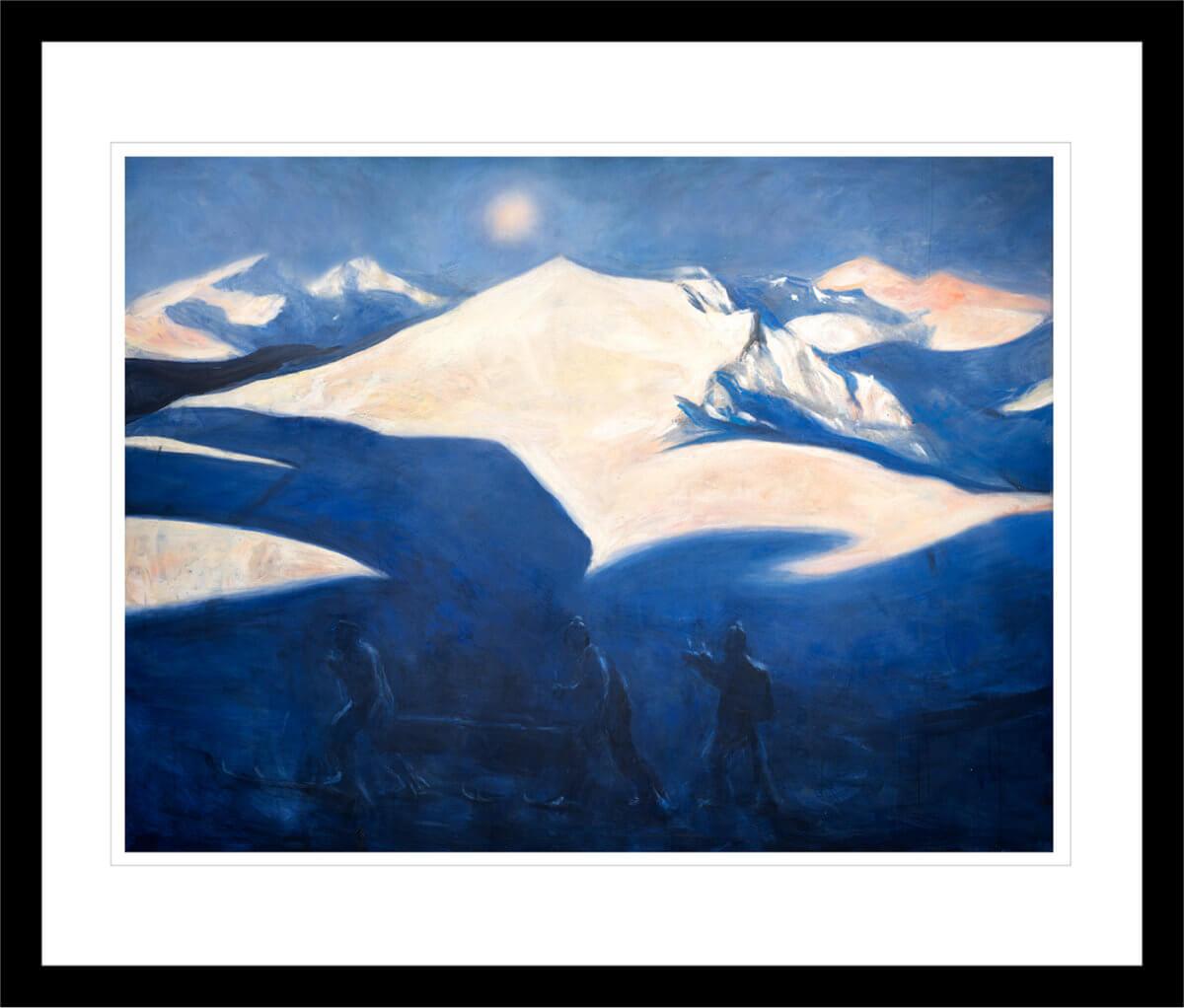 Milorgkarer henter flyslipp i fjellet, malt med sterke blå og hvite farger. Håndkolorert grafikk av Vebjørn Sand.