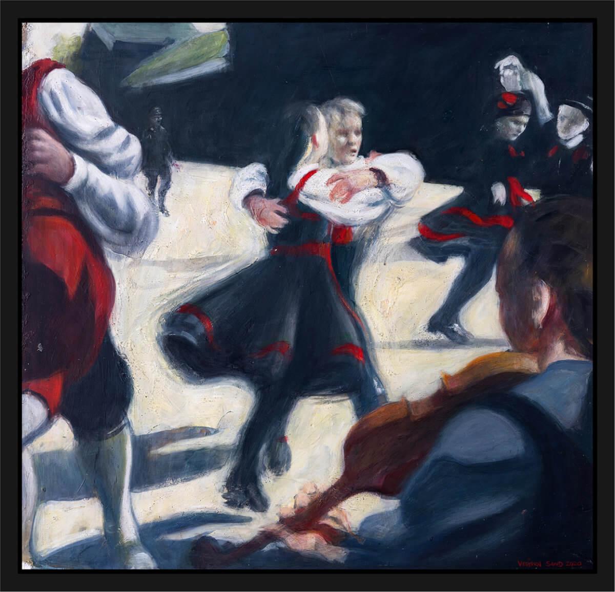 Folkedans mens en tysk soldat nærmer seg. Håndkolorert grafikk av Vebjørn Sand. Akryl på plate, maleri av Vebjørn Sand.