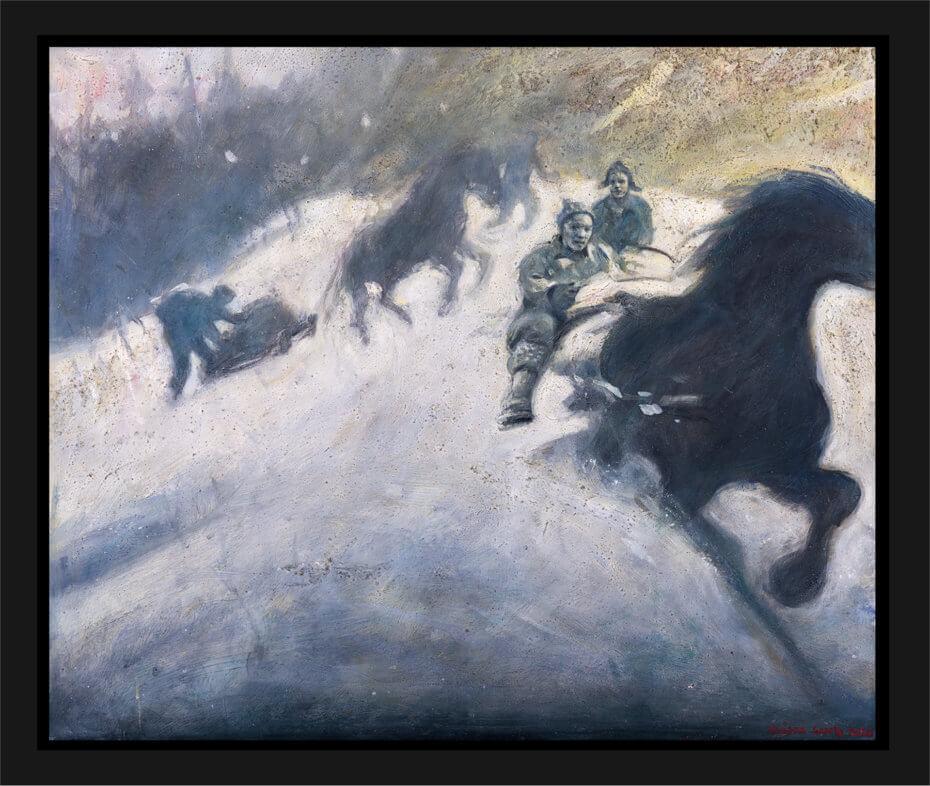 Gutta kommer ned fra skauen. Akryl på plate, maleri av Vebjørn Sand.