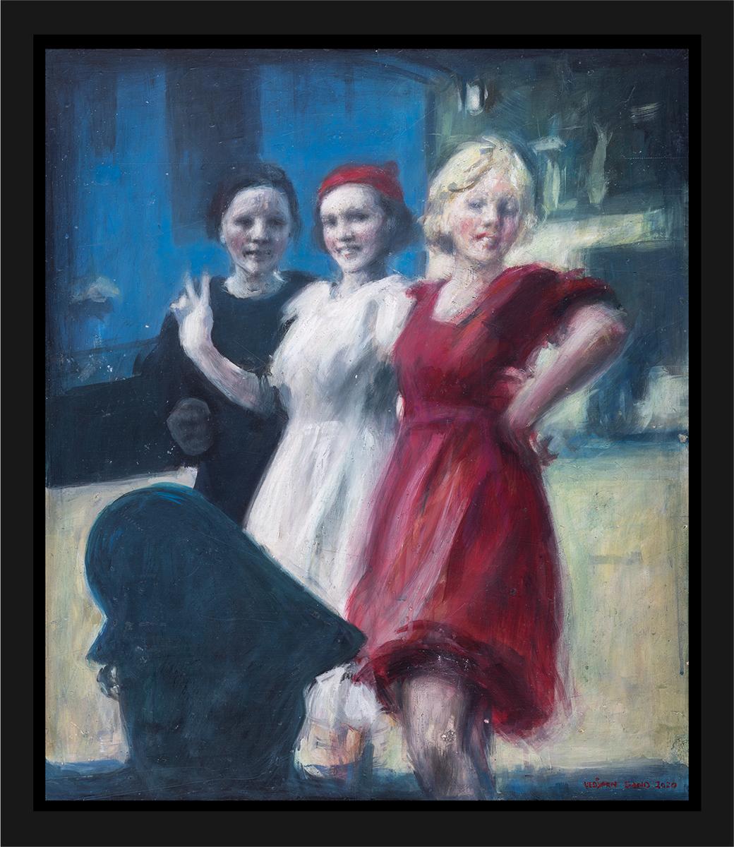 Tre kviner, den forførende i rødt, den uskyldige i hvitt og den sørgende i sort. Akryl på plate, maleri av Vebjørn Sand.