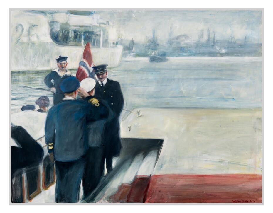Kong Haakon går i land på Honnørbrygga i Oslo 7. juni 1945. Akryl på plate, maleri av Vebjørn Sand.