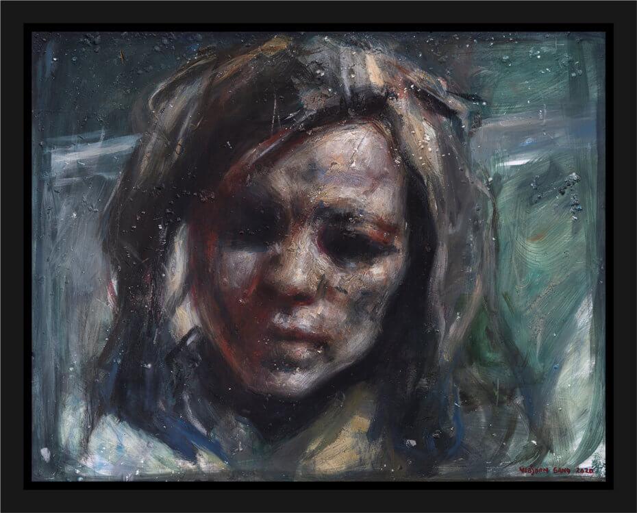 Portrettstudie av en kvinne, malt med grove penselstrøk. Akryl på plate, maleri av Vebjørn Sand.