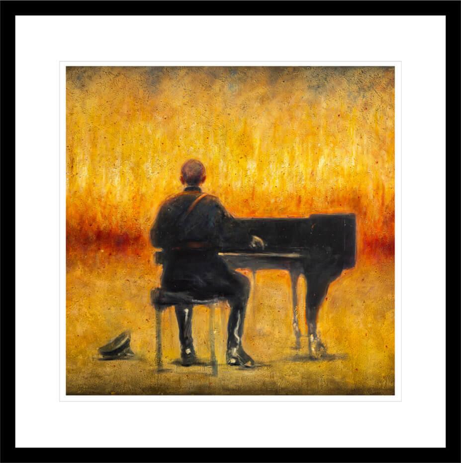 En soldat spiller piano foran et ruvende helvete. Håndkolorert grafikk av Vebjørn Sand.
