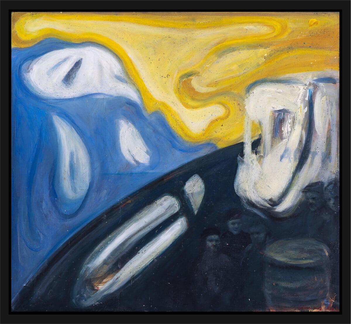 Gutta på Skauen i en fiskebåt, malt med flammende farger og urolig linjeføring. Akryl på plate, maleri av Vebjørn Sand.