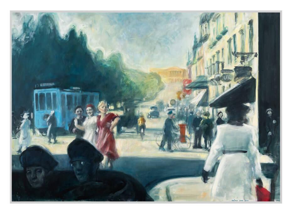 Folk går på Karl Johan en sommerdag under andre verdenskrig, malt med lyse farger. Akryl på plate, maleri av Vebjørn Sand.