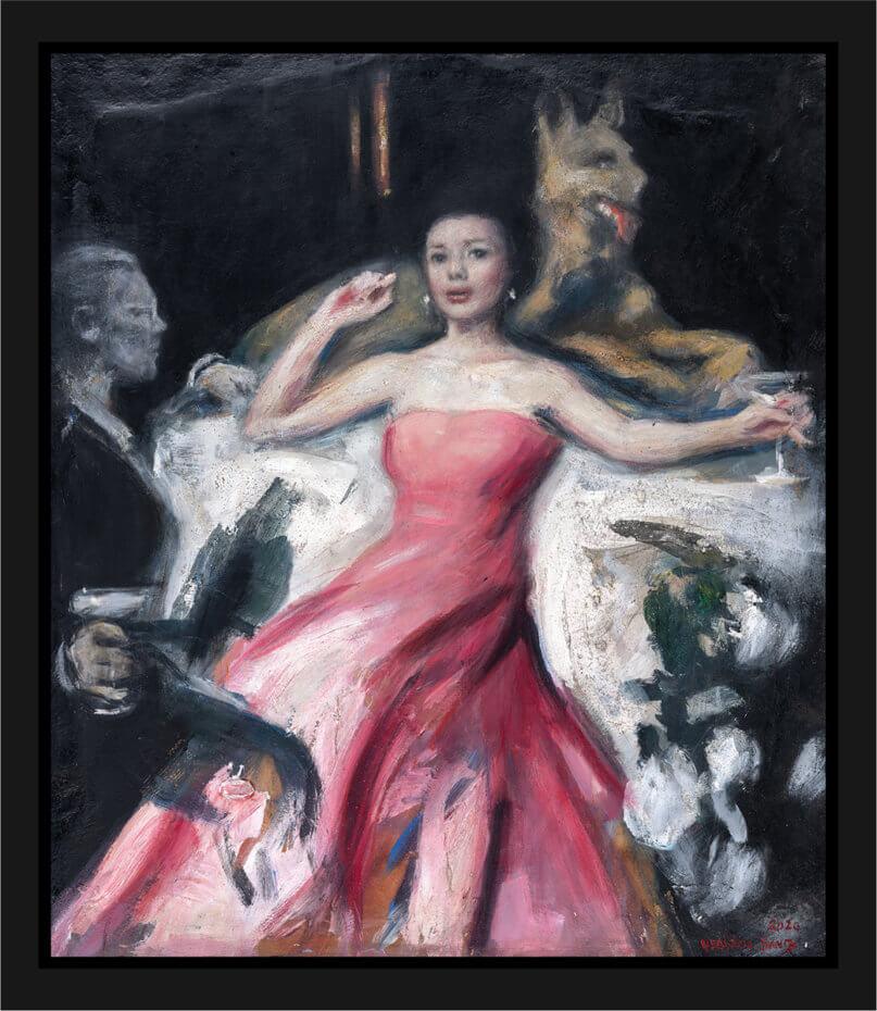 En kvinne hviler i en rosa kjole, omgitt av en mann og en Schäferhund. Akryl på plate, maleri av Vebjørn Sand.