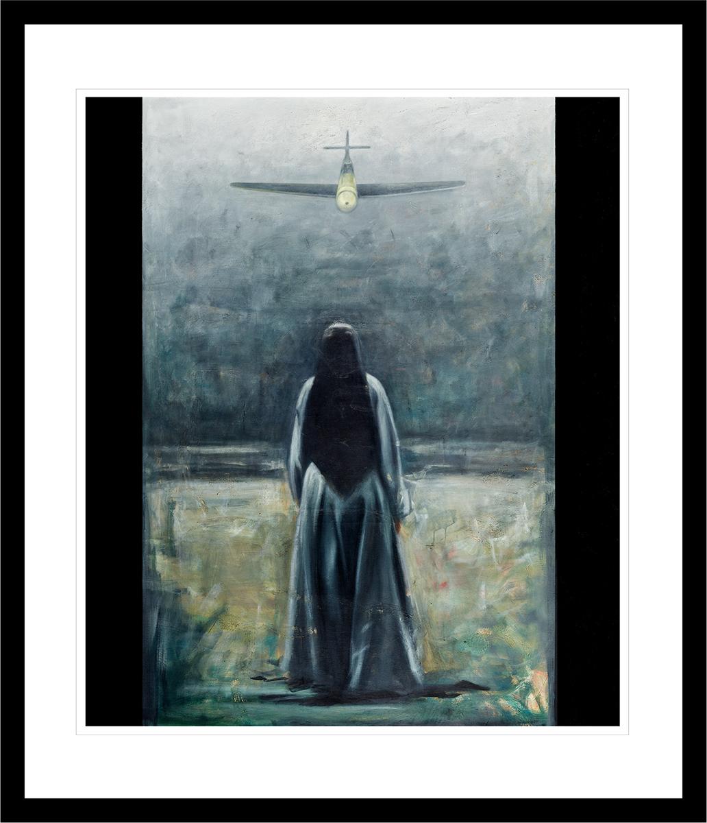 En nonne står foran et angrepsfly under bombingen av Guernica. Håndkolorert grafikk av Vebjørn Sand.