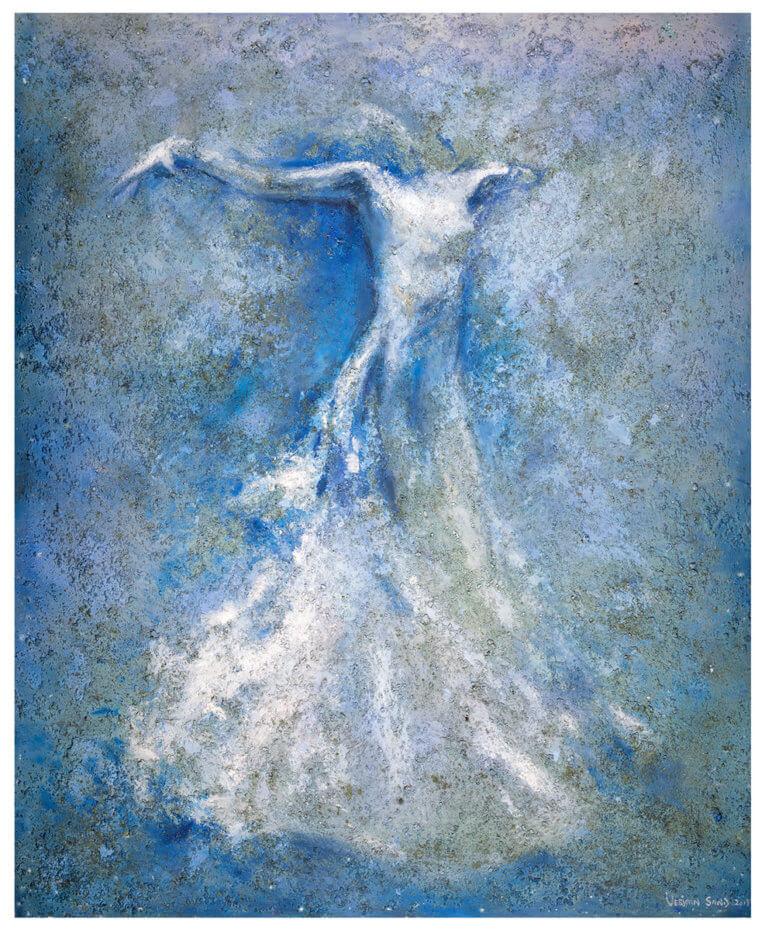 Flytende ballerina utfører en moderne dans, malt med hvite og blå farger. Akryl på plate, maleri av Vebjørn Sand.