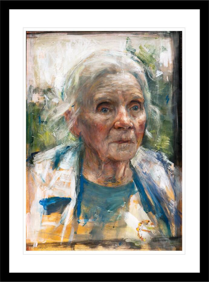 Portrett av Traute Lafrenz, malt i realistisk stil. Håndkolorert grafikk av Vebjørn Sand.