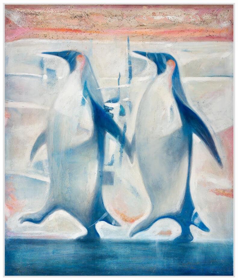 To blå pingviner går sidelengs i Antarktis. Akryl på plate, maleri av Vebjørn Sand.