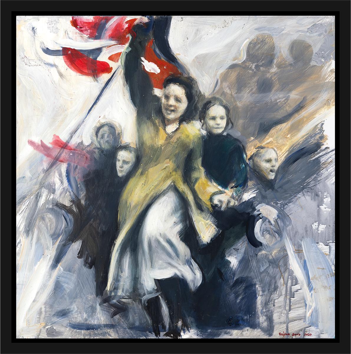 Nordmenn feirer på 8. mai 1945, frigjøringen på slutten av andre verdenskrig. Akryl på plate, maleri av Vebjørn Sand.