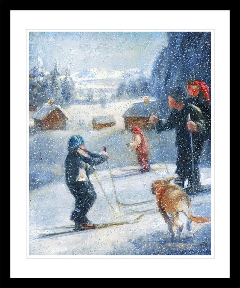 Skituren med familien i et snødekt vinterlandskap. Håndkolorert grafikk av Vebjørn Sand.