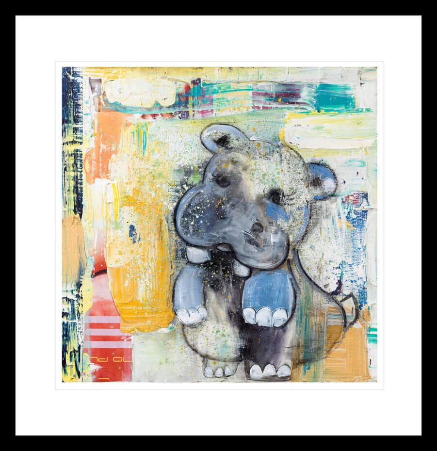 Søt Flodhestbaby, malt med lyse flerfarget penselstrøk. Håndkolorert grafikk av Marianne Aulie.