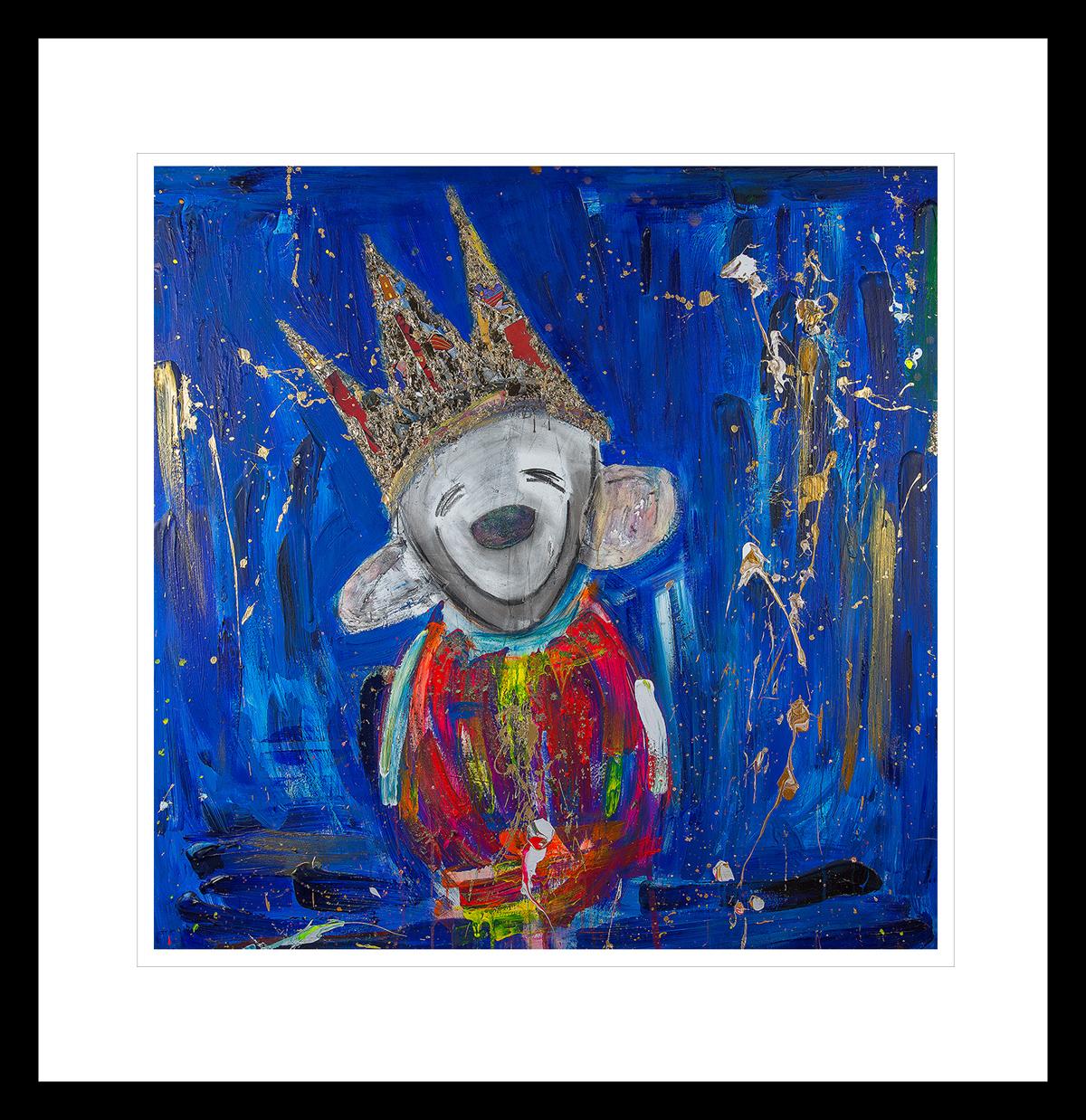 Smilende Optimist, malt med sterke primærfarger. Håndkolorert grafikk av Marianne Aulie.