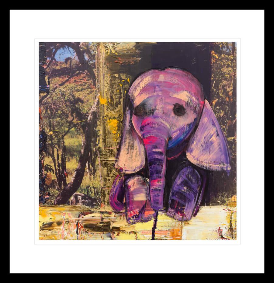 Søt babyelefant, malt med lilla penselstrøk. Håndkolorert grafikk av Marianne Aulie.