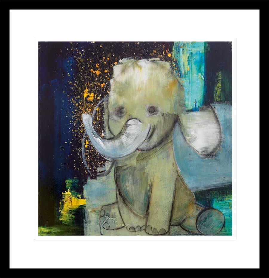 Søt babyelefant, malt med gull og lyseblå penselstrøk. Håndkolorert grafikk av Marianne Aulie.