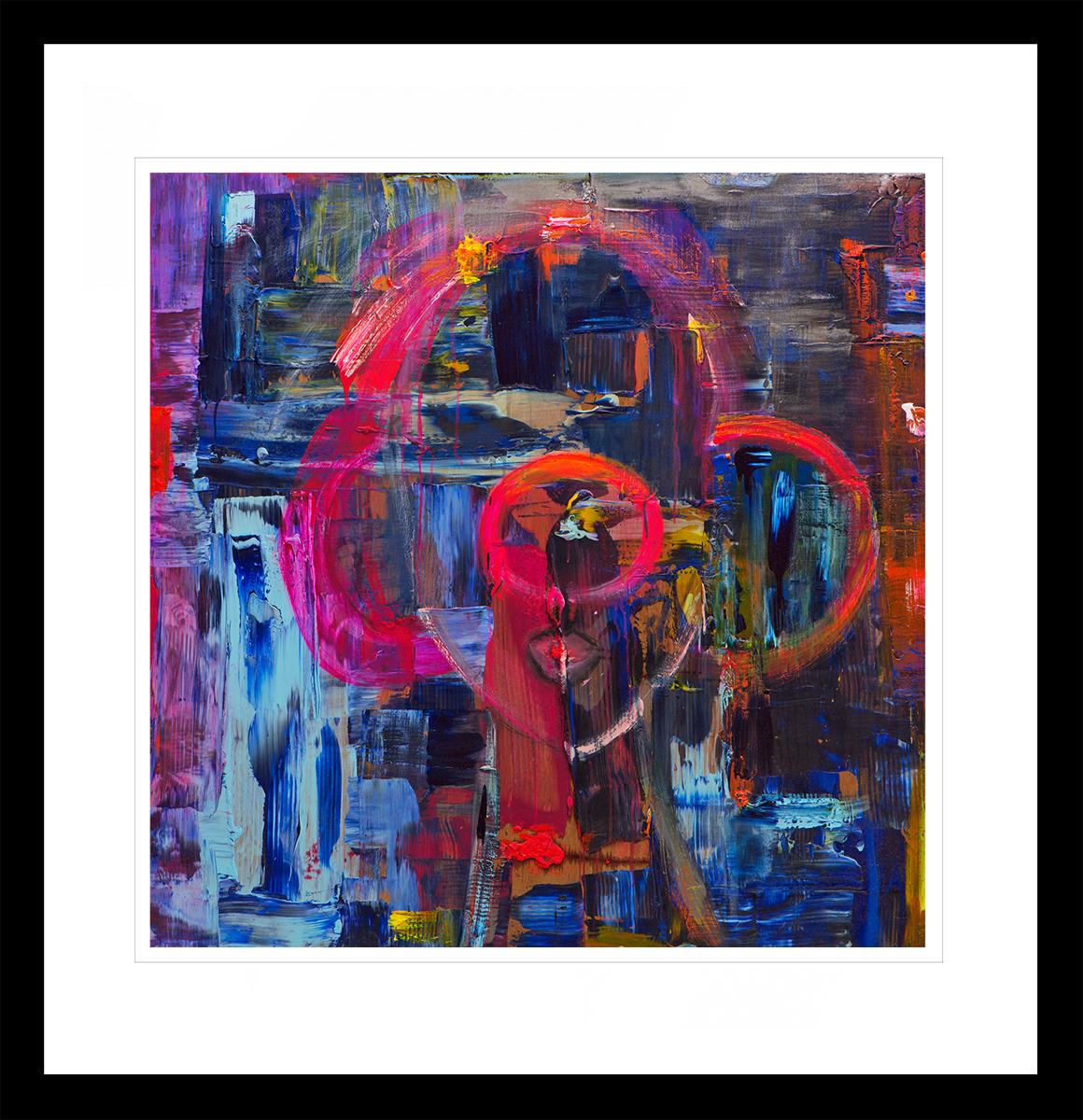 Silhouette av en Optimist, malt med sterke primærfarger. Håndkolorert grafikk av Marianne Aulie.
