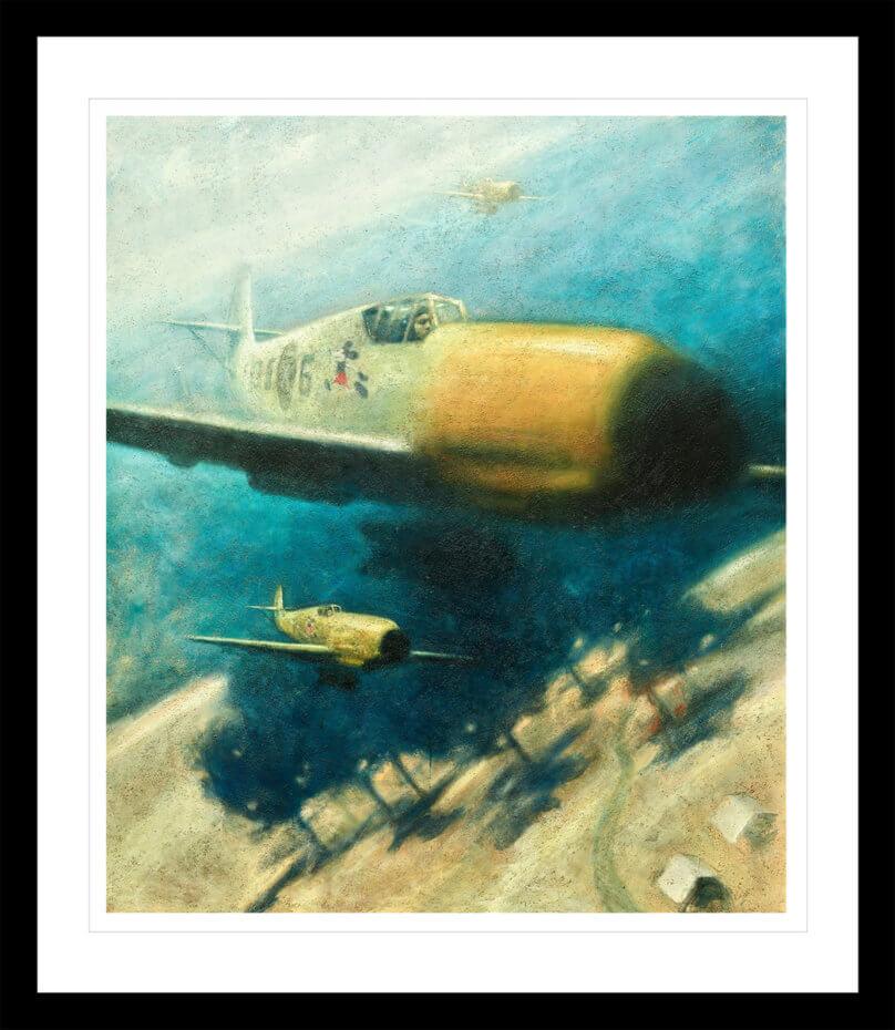 Krigsfly i krig med en lyseblå himmel. Håndkolorert grafikk av Vebjørn Sand.