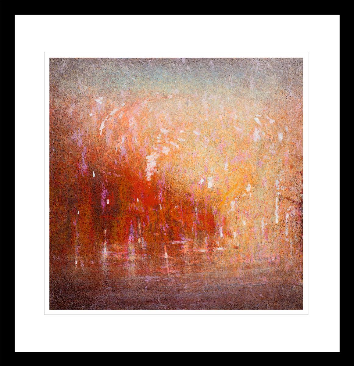Abstrakt kunst med glødende rød og oransje antarktis solnedgang. Håndkolorert litografi av Vebjørn Sand.