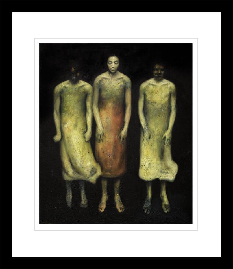 Tre flytende kvinner på en svart bakgrunn. Håndkolorert grafikk av Vebjørn Sand.