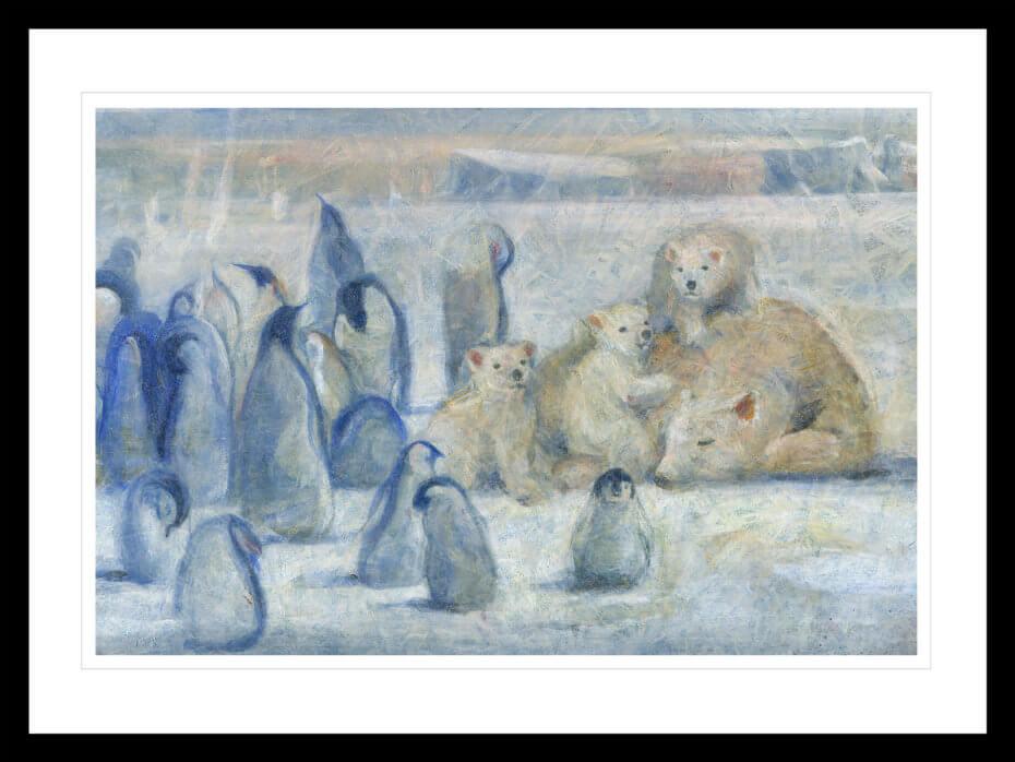 Pingviner og isbjørner sammen i et Antarktis landskap. Håndkolorert grafikk av Vebjørn Sand.