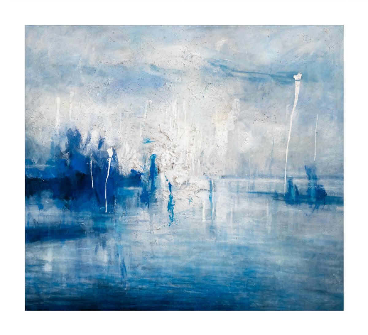 Abstrakt kunst med blå og hvite isbreer. Maleri av Vebjørn Sand.