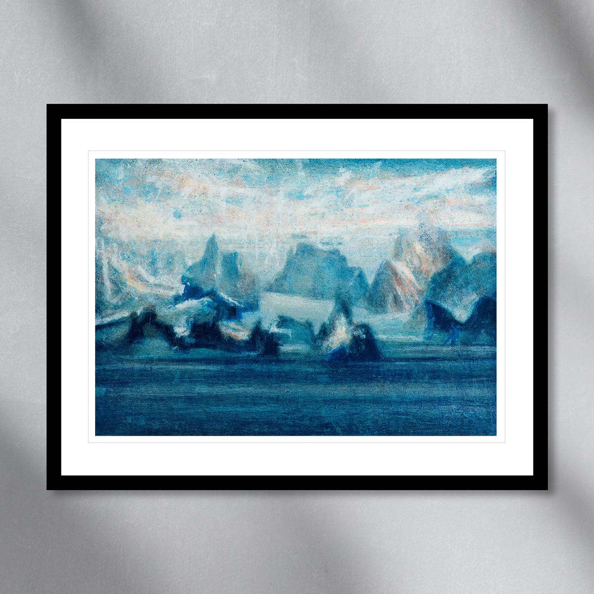 Antarktis fjell landskap malt i pastellblå farger. Håndkolorert litografi av Vebjørn Sand.
